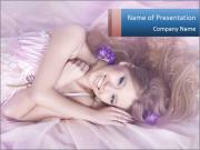 Young Lady Lying on Silk Linen Шаблоны презентаций PowerPoint
