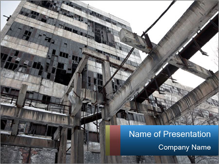 grey industrial building powerpoint template & backgrounds id, Modern powerpoint