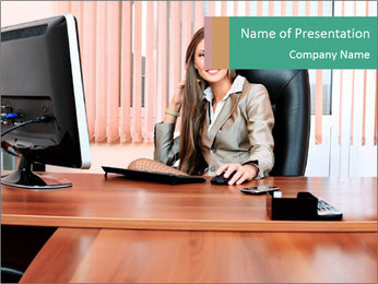 Young Business Lady PowerPoint Template