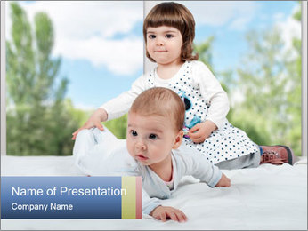 Baby and Small Girl PowerPoint Template