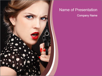 Woman Selfprotecting with Pistol PowerPoint Template