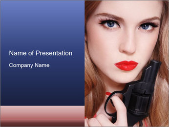 Pretty Woman with Pistol PowerPoint Template