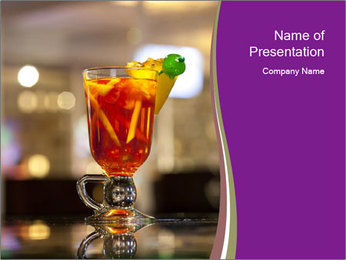 Cocktail at Bar Stand PowerPoint Template
