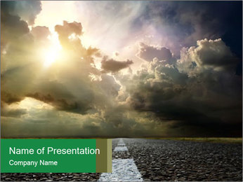 Sun Shining From Clouds Above Road PowerPoint Template