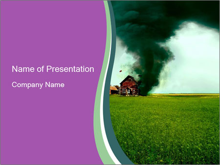 destroying tornado powerpoint template & backgrounds id 0000024537, Modern powerpoint