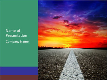 Magic Sunset Over Asphalt Road PowerPoint Template