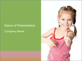 Small Girl with Thimb Up PowerPoint Template