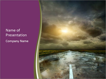 Puddles on Empty Road PowerPoint Template