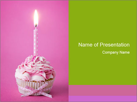 Cupcake With Birthday Candle PowerPoint Template