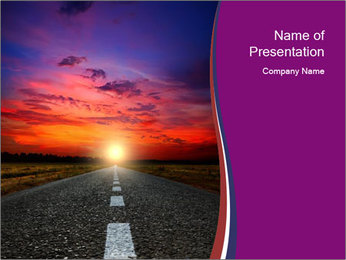 Straight Road and Sunset PowerPoint Template