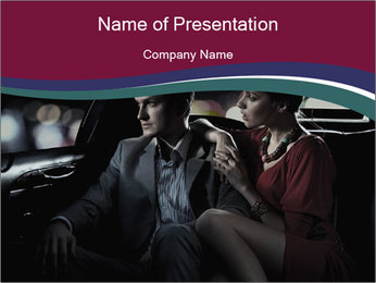 FLove Couple Sitting Car PowerPoint Template