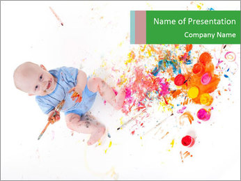Child Playing with Paint PowerPoint Template