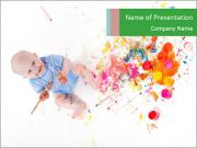 Child Playing with Paint PowerPoint Templates