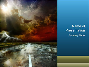 Empty Road and Dangerous Lightning PowerPoint Template