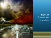 Empty Road and Dangerous Lightning PowerPoint Templates