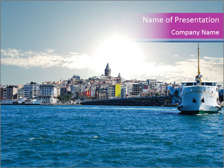 Sea Port In Turkey Powerpoint Template Backgrounds Id 0000024821