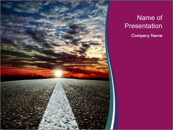 Asphalt Road and Sunset PowerPoint Template