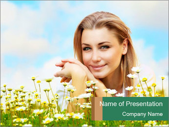 Portrait of Young Lady with White Camomiles PowerPoint Template
