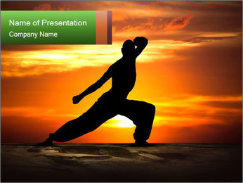 Silhouette of Martial Warrior PowerPoint Template