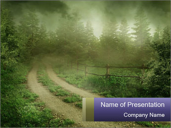 Foggy Countruside Road PowerPoint Template