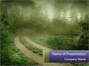 Foggy Countruside Road PowerPoint Templates