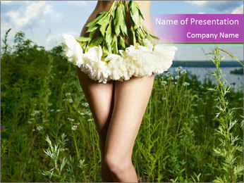 Nude Lady Covered with Peonies PowerPoint Template