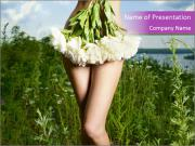 Nude Lady Covered with Peonies PowerPoint Templates