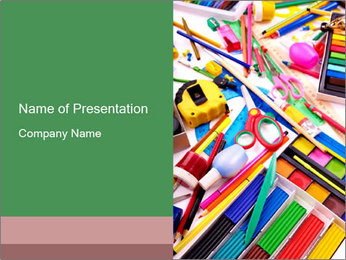 School Utensils for Arts Lesson PowerPoint Template