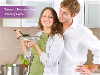 Young Wife Cooking Soup PowerPoint Template