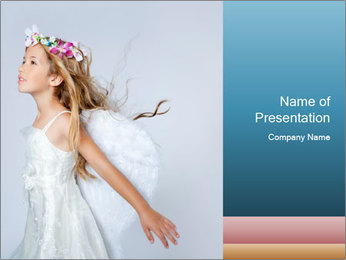 Small Angel in White Dress PowerPoint Template