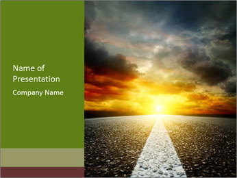 Road Leading to Sunset PowerPoint Template