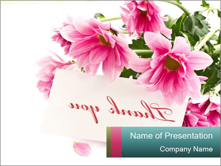 Pink flowers with thank you note powerpoint template backgrounds pink flowers with thank you note powerpoint templates toneelgroepblik Choice Image