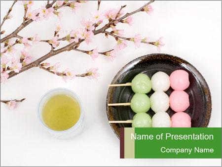 japanese green tea with sweet dessert powerpoint template, Modern powerpoint