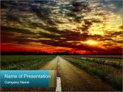 Empty Road in the Field PowerPoint Templates