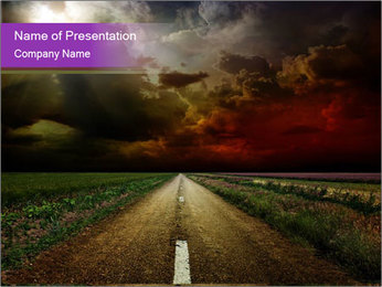 Empty Road and Storm PowerPoint Template