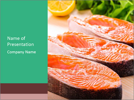 salmon steak for cooking powerpoint template & backgrounds id, Modern powerpoint