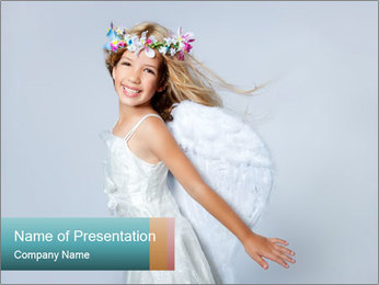 Small Girl with Angel Wings and Floral Crown PowerPoint Template