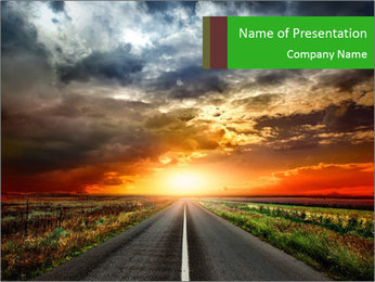 Rural Road at Sunset PowerPoint Template
