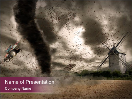 scary tornado over windmill powerpoint template & backgrounds id, Modern powerpoint