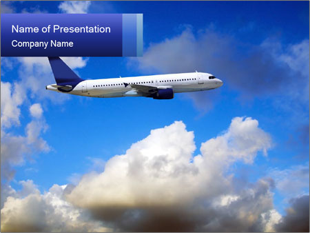 Passenger Airplane Powerpoint Template Backgrounds Google Slides
