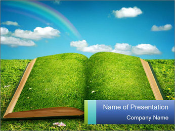 Eco Book with Grass Cover PowerPoint Template