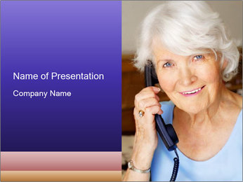 Senior Lady Making Phone Call PowerPoint Template