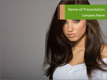 Pretty Brunette Lady PowerPoint Template