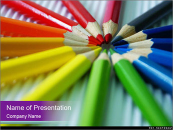 Circle of Pencils PowerPoint Template