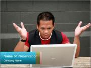 Man Fixing Laptop Шаблоны презентаций PowerPoint