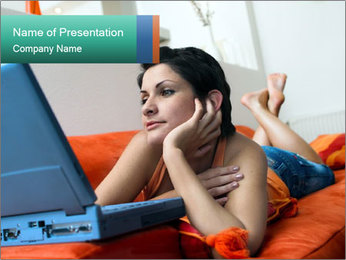 Woman Watching Movie in Bed PowerPoint Template