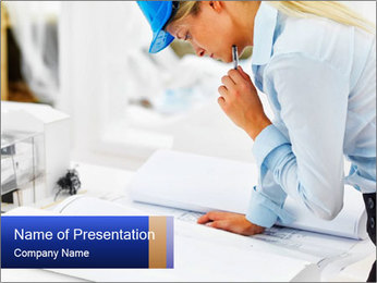 Woman Architect at Work PowerPoint Template