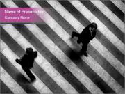 Two Persons Crossing the Road PowerPoint Templates