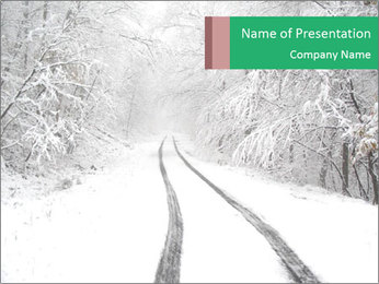 Snowy Road PowerPoint Template