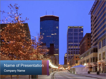 Downtown in the Evening PowerPoint Template